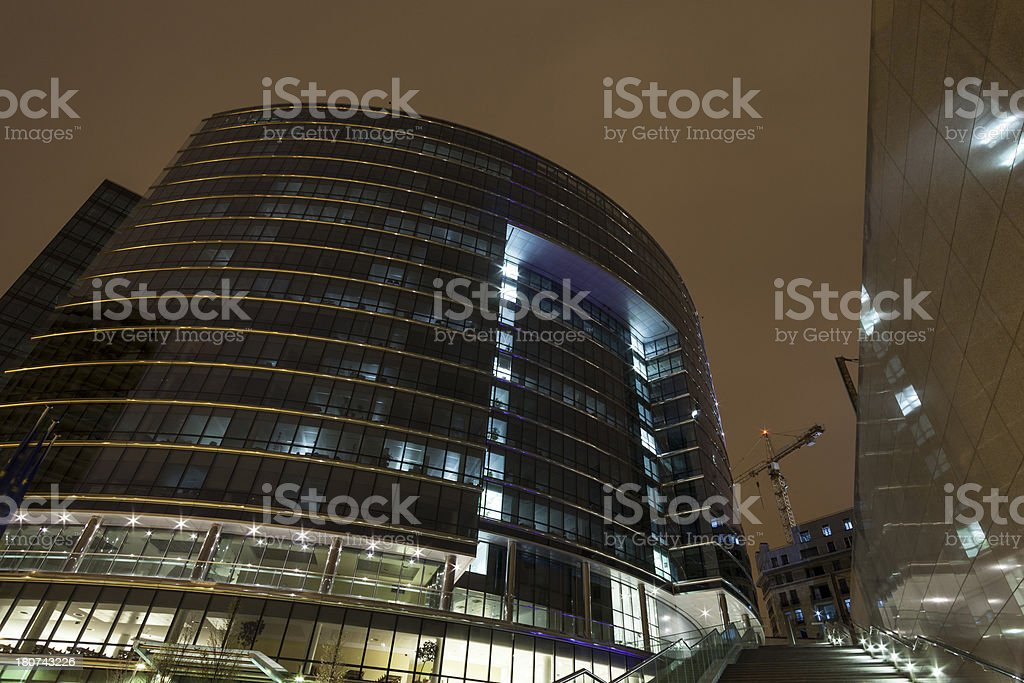 Office building at night in Brussels, Belgium royalty-free stock photo