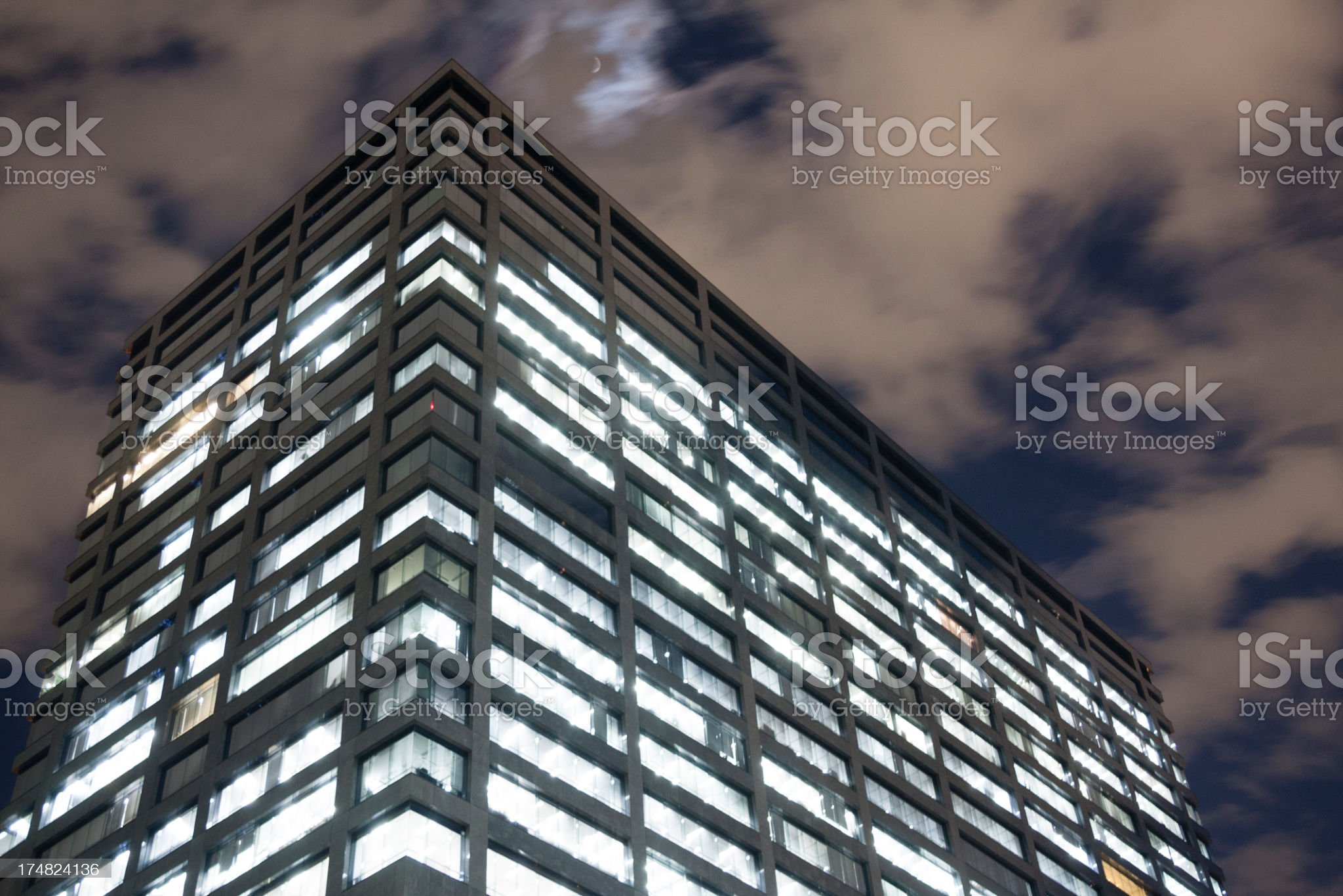 office building  at night, Tokyo Japan royalty-free stock photo
