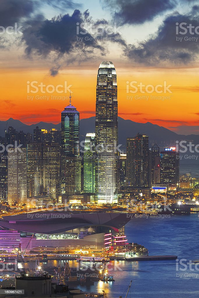 office building at sunset in hong kong royalty-free stock photo