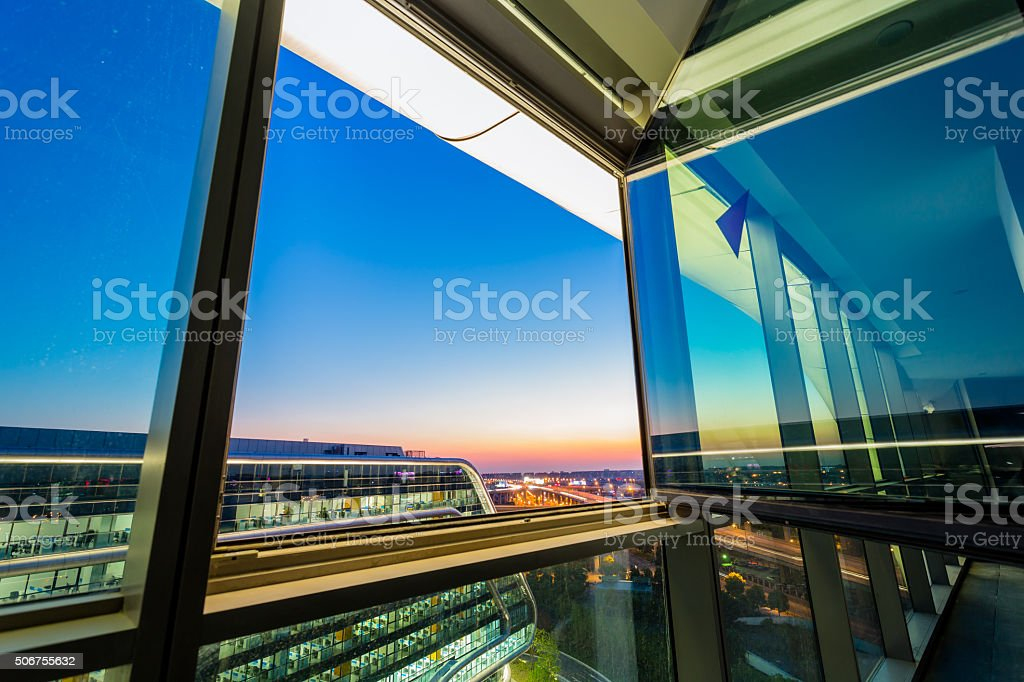 Office building at sunset stock photo
