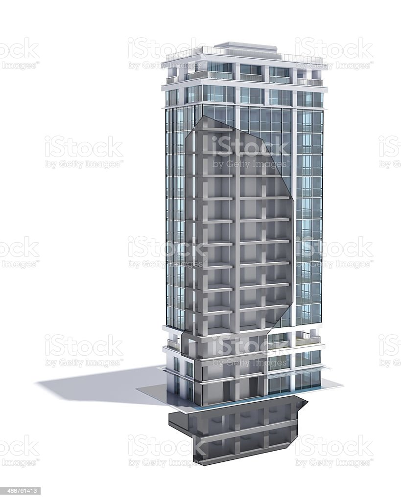 Office building cross section, structure cut-away, see through construction frame stock photo