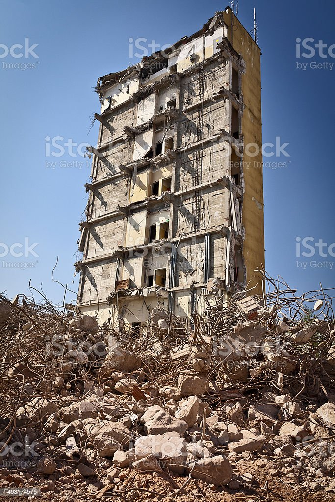 Office building demolition royalty-free stock photo