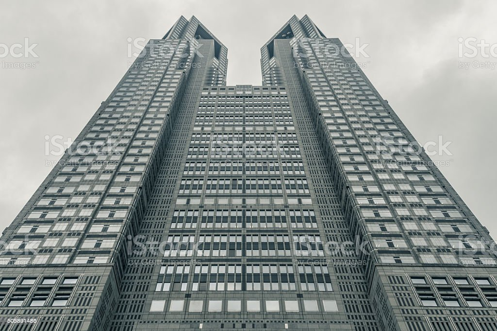Office building diminishing perspective stock photo