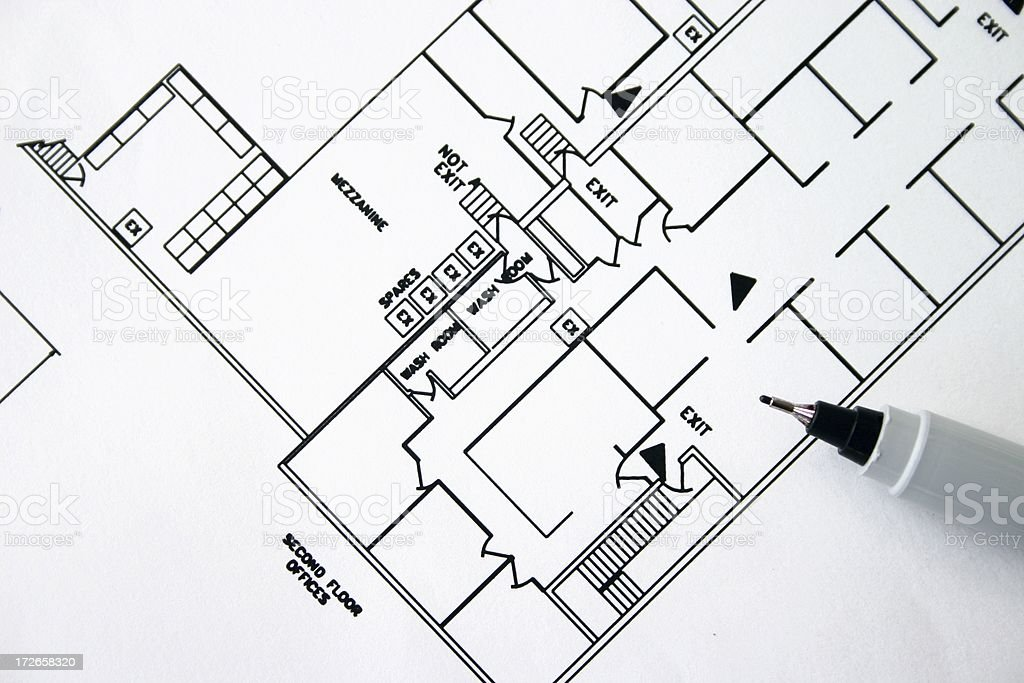 Office building drawing royalty-free stock photo
