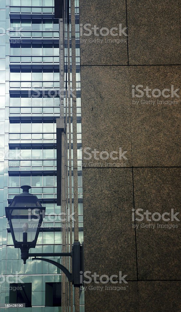 Office building exterior with lamp stock photo