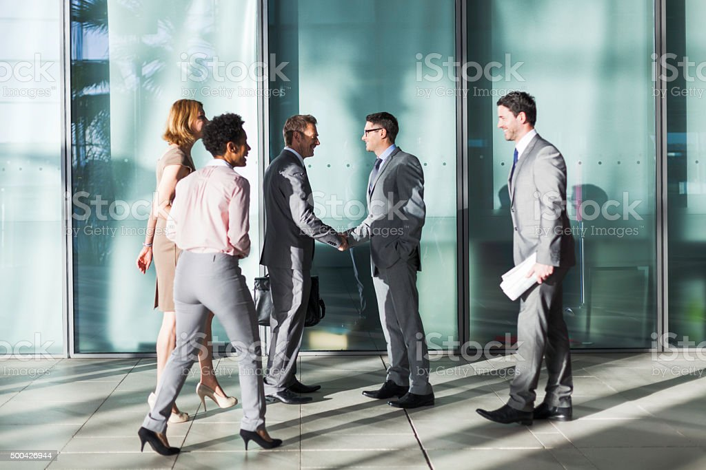 Office building group of businessman. stock photo