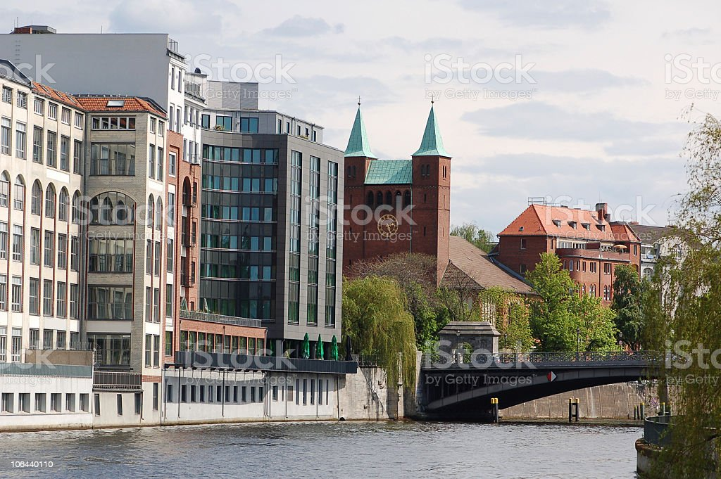 Office Building in Berlin on Spree River royalty-free stock photo