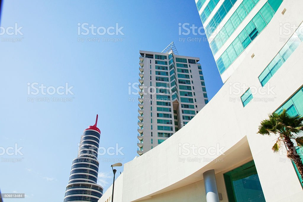 office building in business center stock photo
