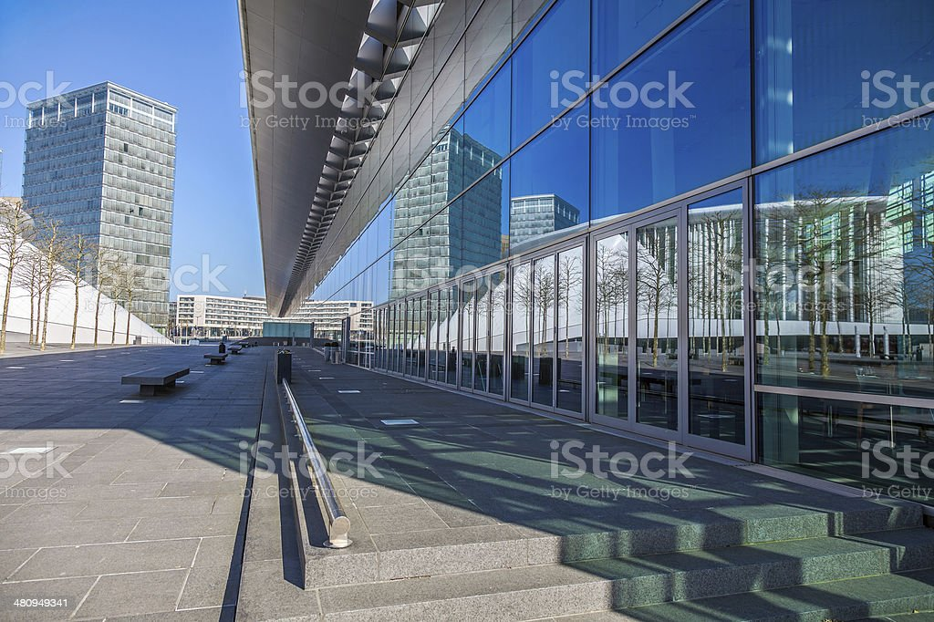Office Building in Luxembourg with reflection stock photo