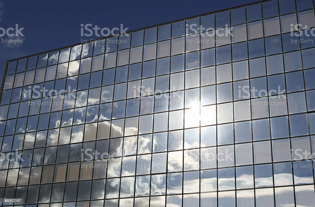 Office building in Rome with sky reflection royalty-free stock photo