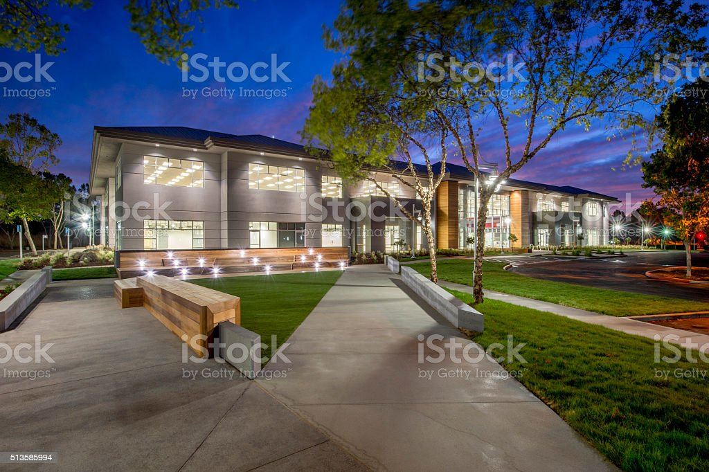 Office Building, Night stock photo