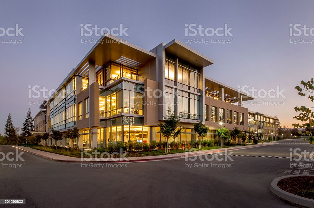 Office Building, Night, Silicon Valley, California stock photo