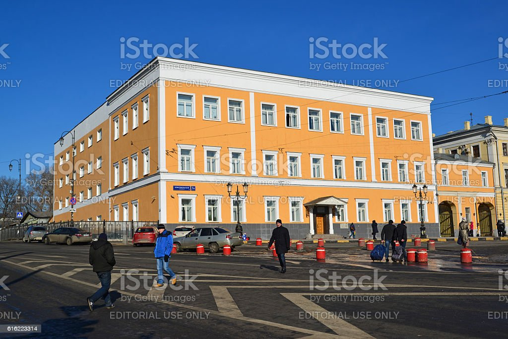 Office building on Komsomolskaya Square Building 1917 stock photo