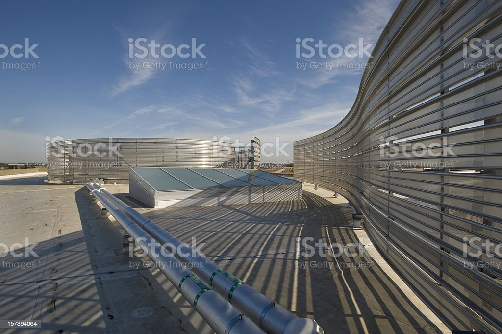 Office Building Rooftop with  Aluminum Screen royalty-free stock photo