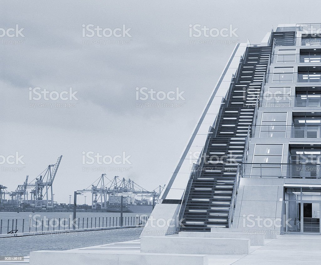 office building, view on port royalty-free stock photo