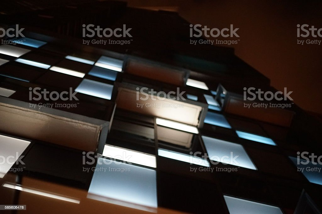 Office Building with Blue Lights stock photo