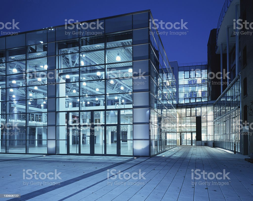 Office building with blue Windows stock photo