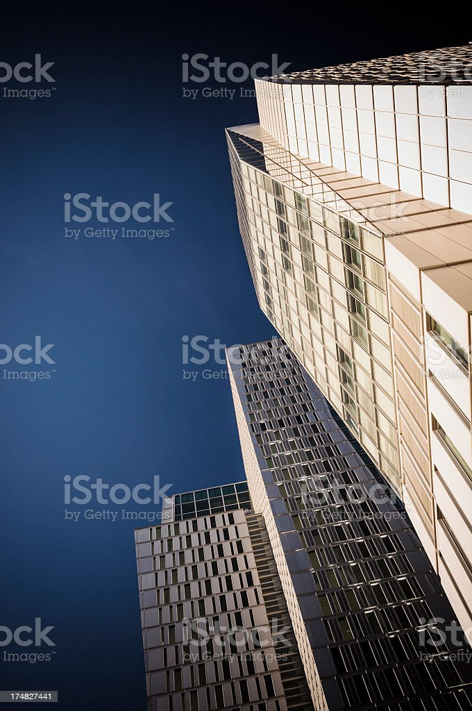 Office building with dark blue sky royalty-free stock photo