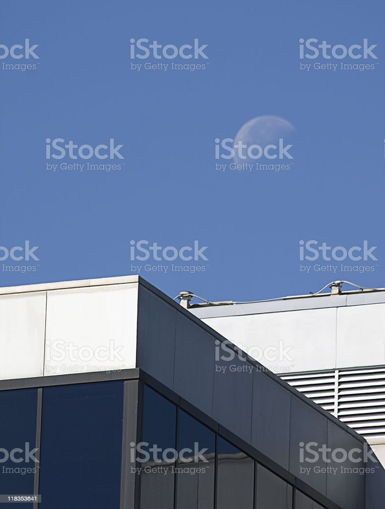 Office Building with Day Moon stock photo