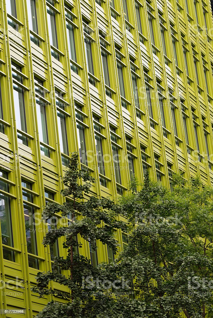 Office building with green frontage. stock photo
