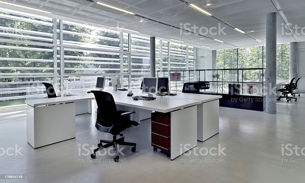 Office building with several workstations stock photo