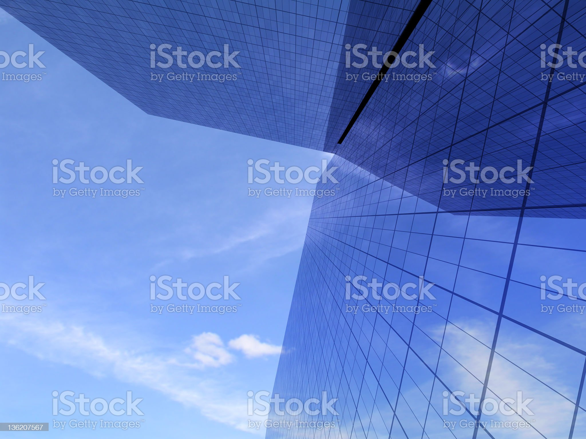 Office buildings against bright sky royalty-free stock vector art