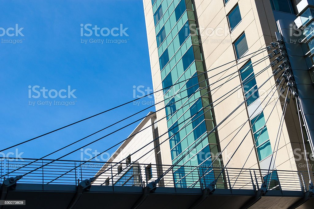 Office buildings and footbridge in downtown San Diego, CA stock photo