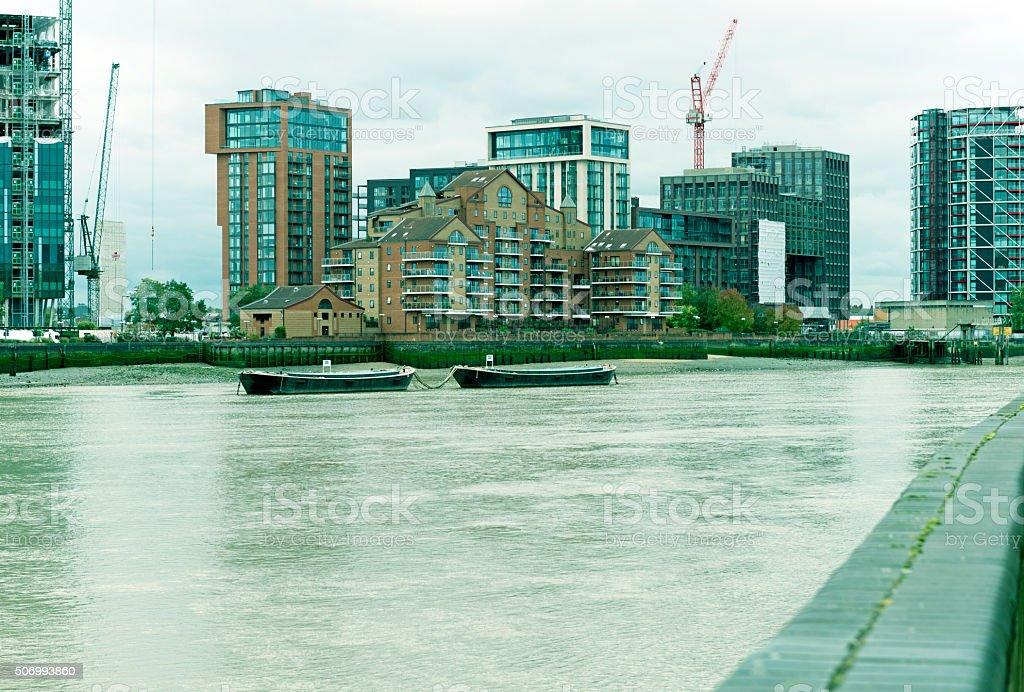 Office buildings and residential units under construction in London UK stock photo