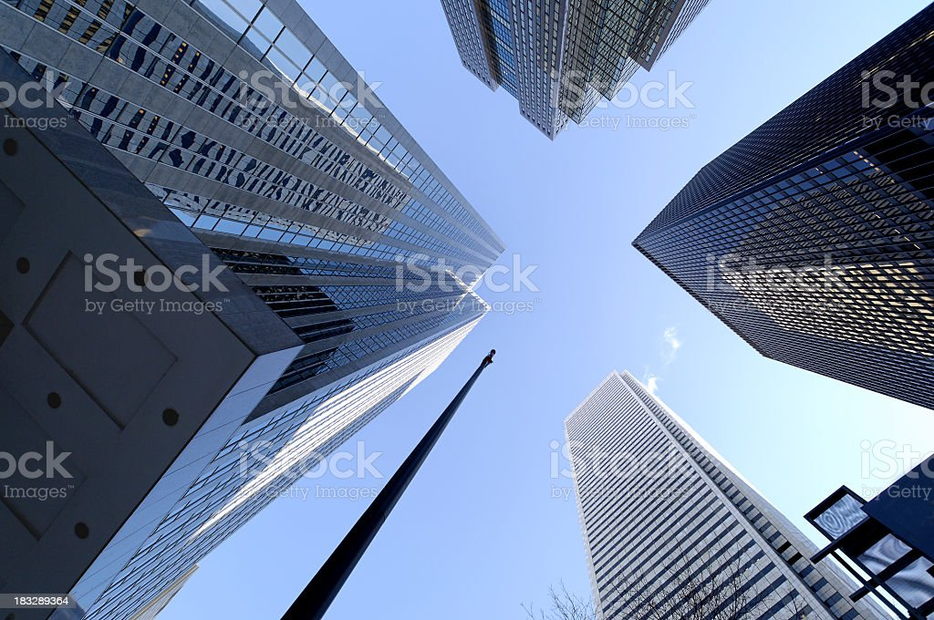 Office buildings and skyscrapers taken from ground level stock photo
