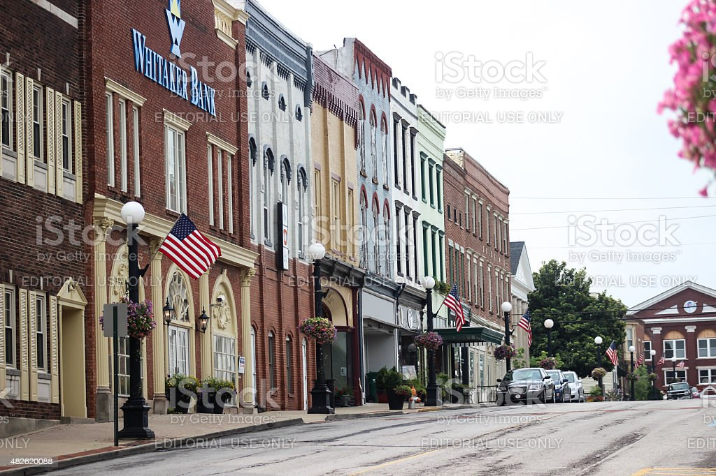 Office Buildings and Store Fronts on Main Street, Harrodsburg, Kentucky stock photo