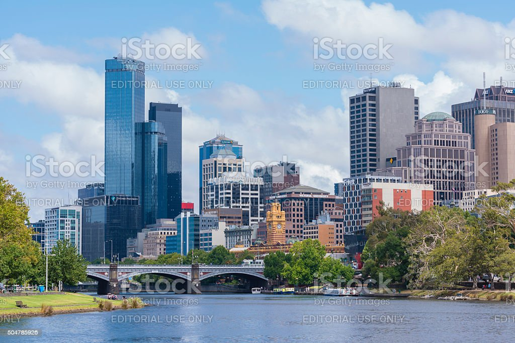 Office buildings and Yarra River in Mebourne CBD stock photo