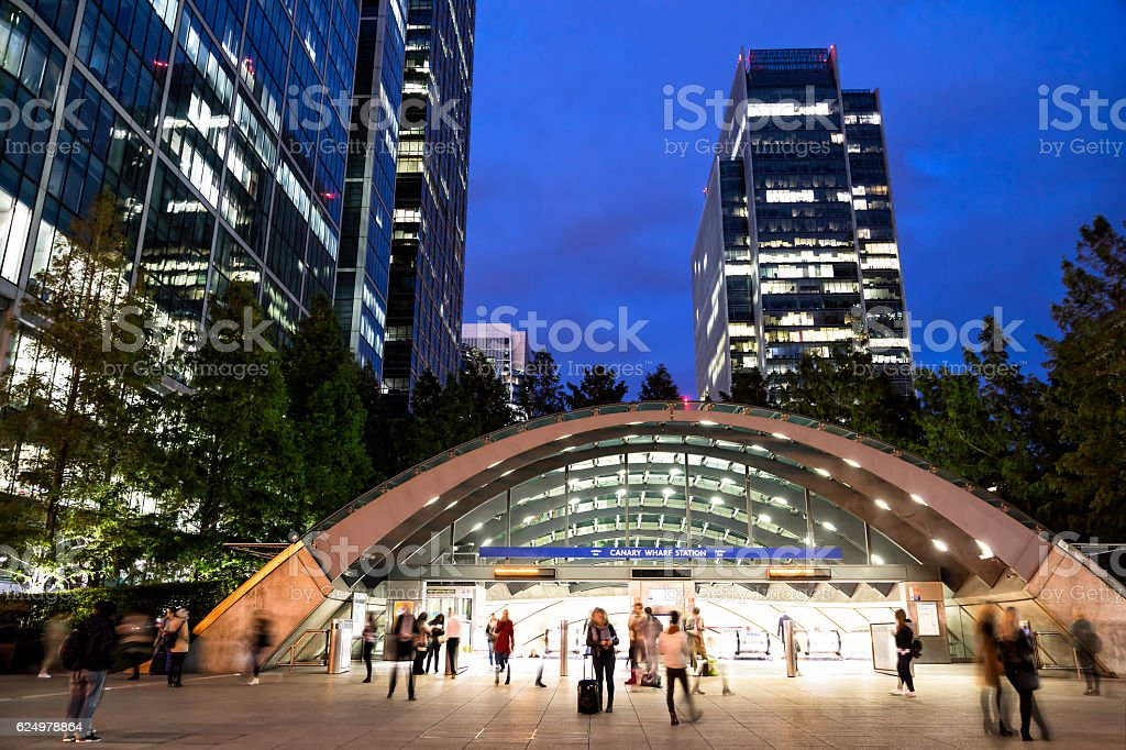 Office Buildings at Dusk, Canary Wharf, London's Financial District, England stock photo