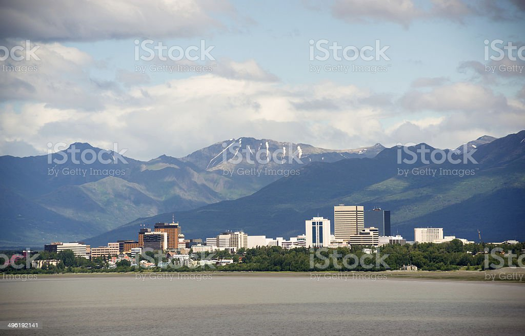 Office Buildings City Skyline Downtown Anchorage Alaska United States stock photo