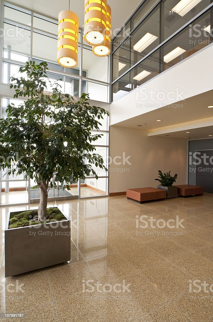 Office buildings front entrance stock photo