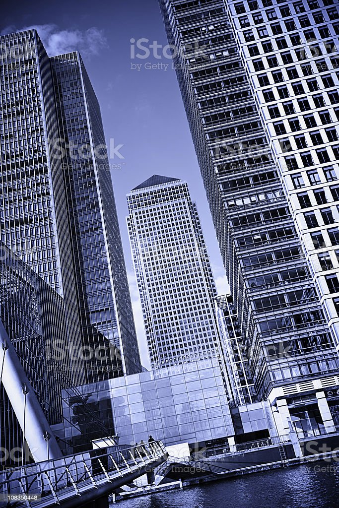 Office buildings in Canary Wharf, London stock photo
