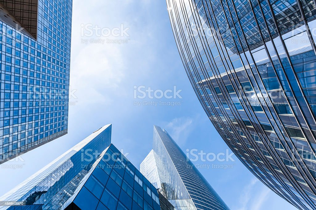 Office buildings in the business district of La Defense, Paris stock photo