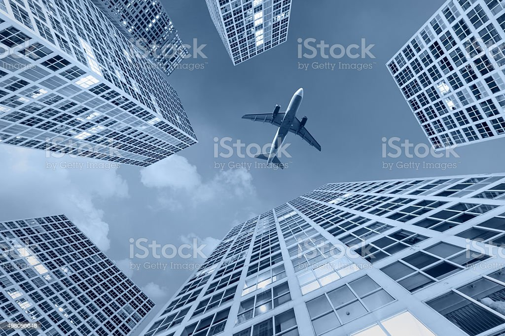 Office buildings scenery in the Urban business center at dusk stock photo