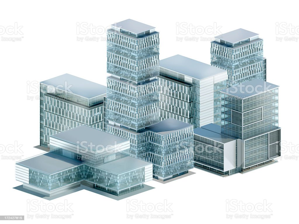 Office buildings view from above, on white, with clipping path royalty-free stock photo