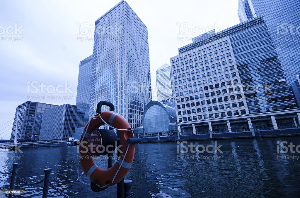 Office buildings with life buoy stock photo