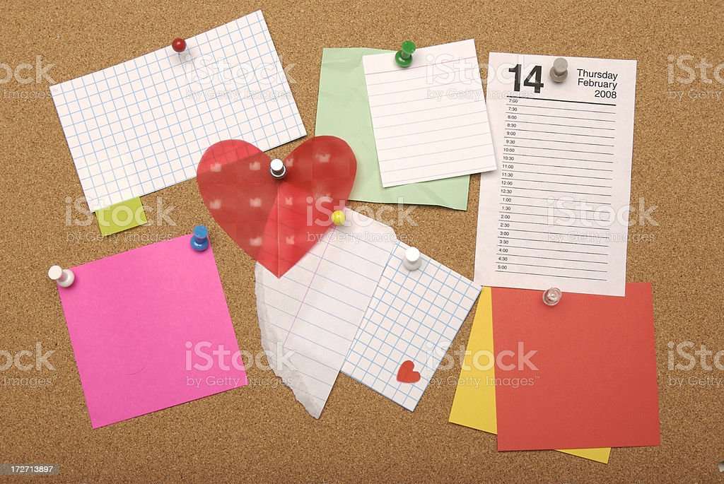 Office Bulletin Board with Valentine Reminder Backgrounds royalty-free stock photo