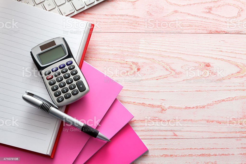 Office: Calculator and Pen stock photo