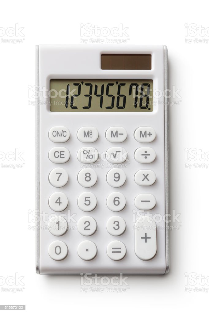 Office: Calculator Isolated on White Background stock photo
