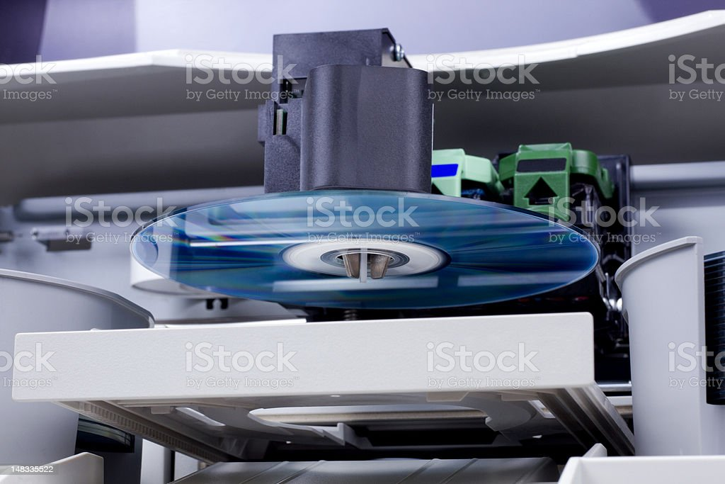 Office cd/dvd duplicator stock photo
