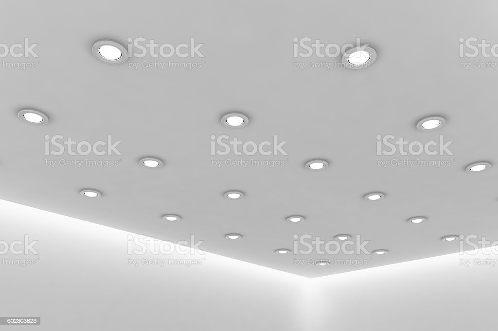 Office Ceiling Of Empty White Room With Round Ceiling Lamps