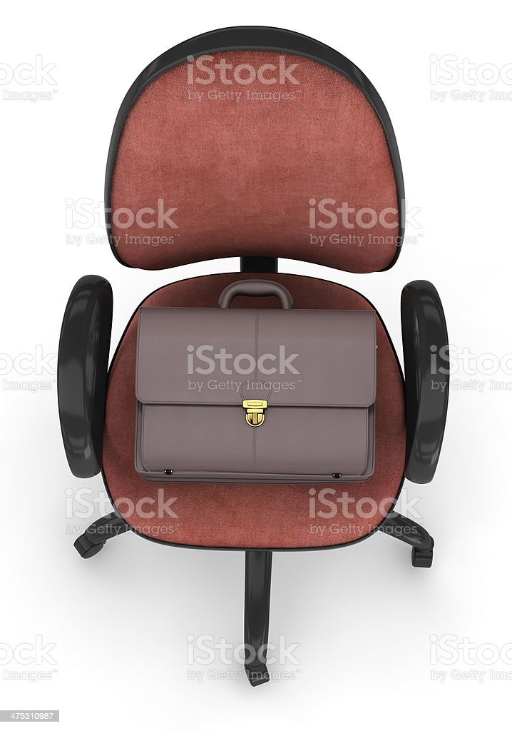 office chair and briefcase stock photo
