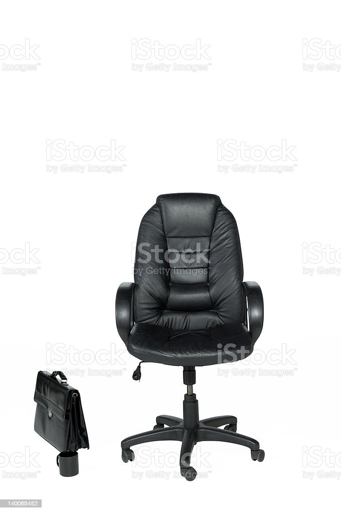 office chair briefcase and coffee mug royalty-free stock photo