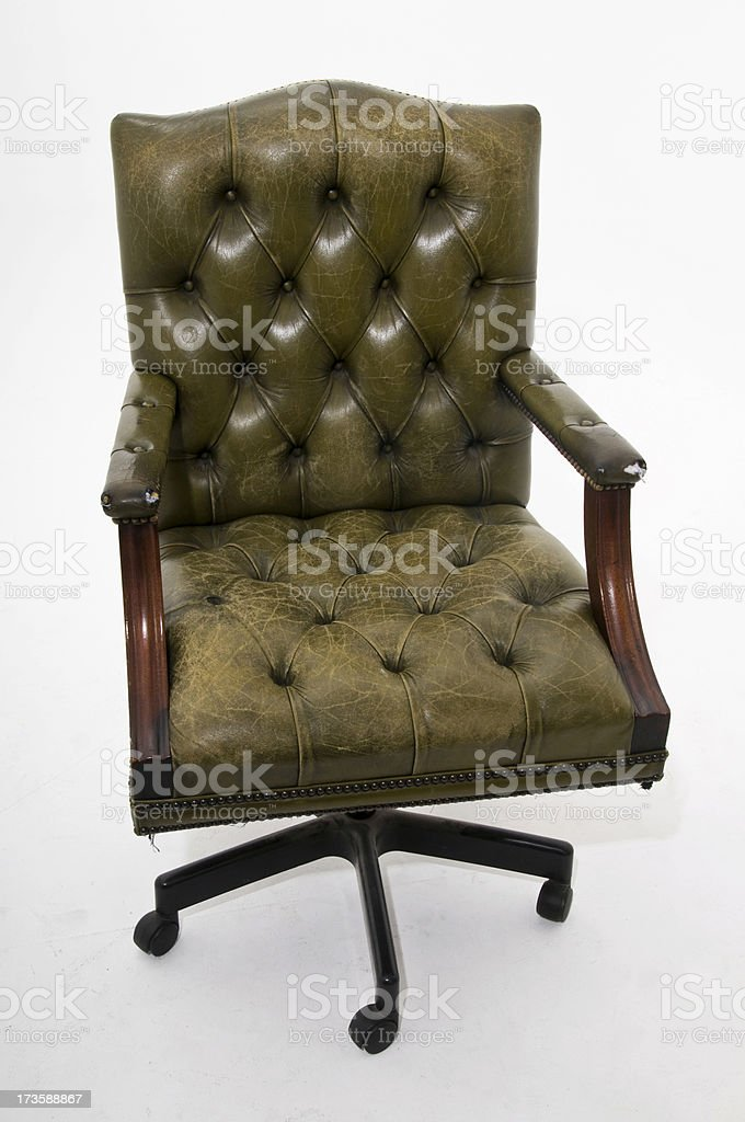 Office chair old olive leather isolated on white royalty-free stock photo