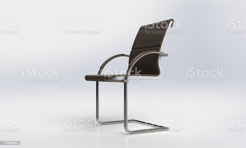 Office Chair with brow leather isolated on white royalty-free stock photo