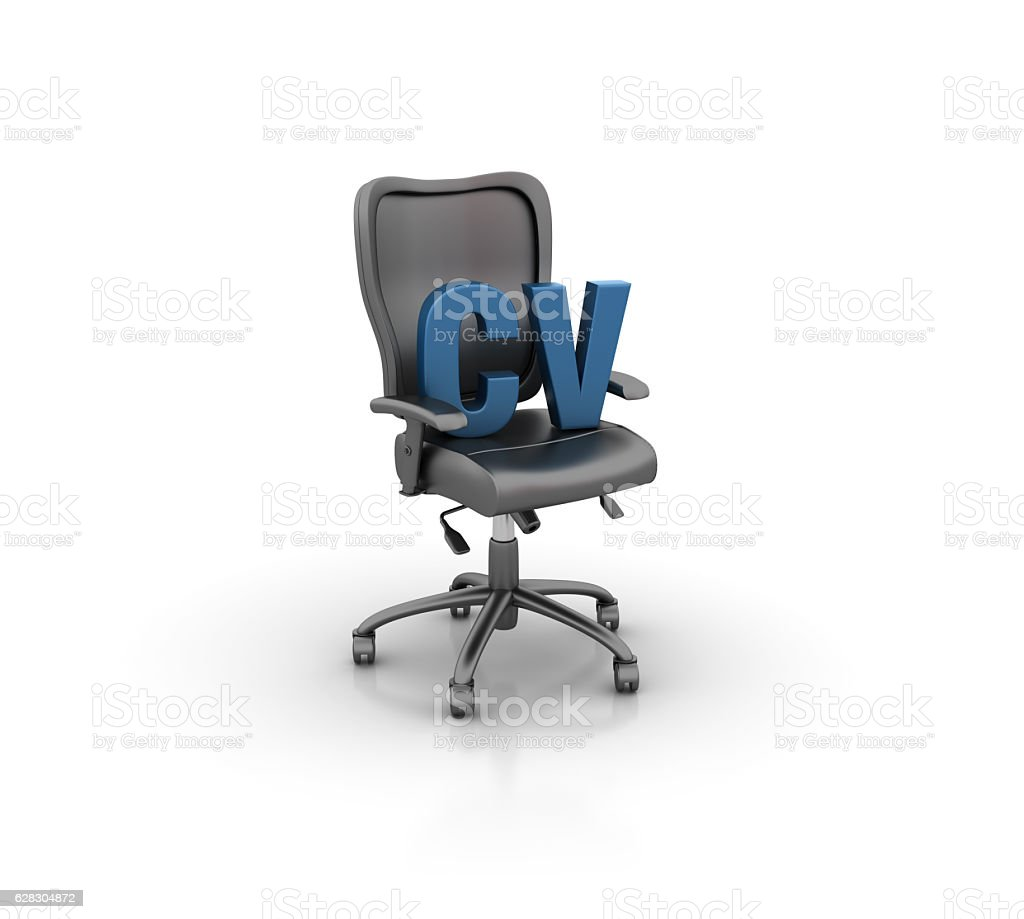 Office Chair with CV Letters - 3D Rendering stock photo
