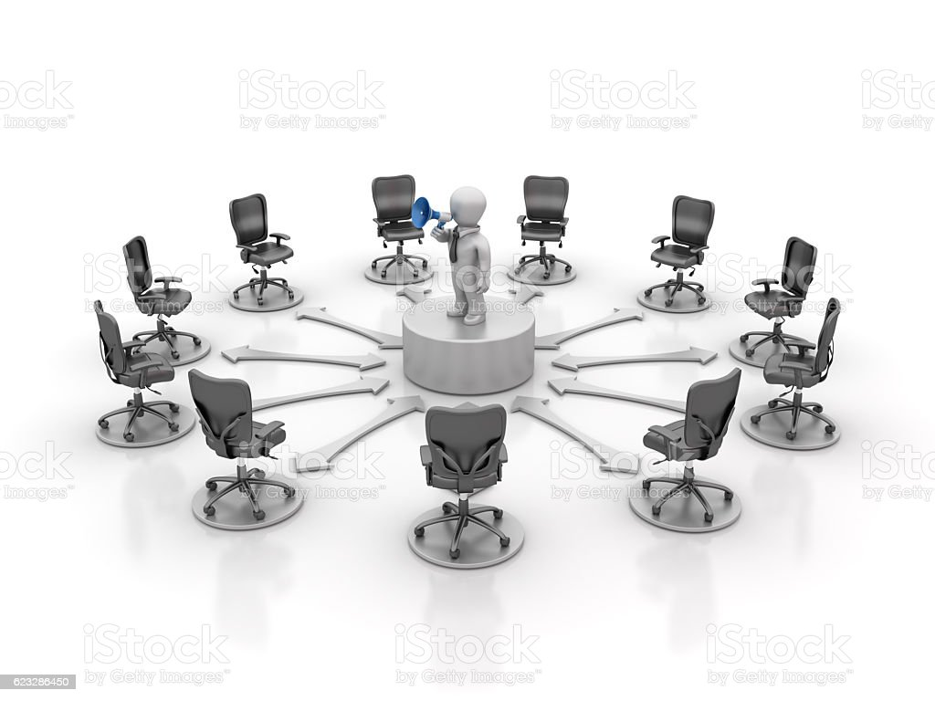 Office Chairs Meeting and Leadership with Megaphone - 3D Rendering stock photo